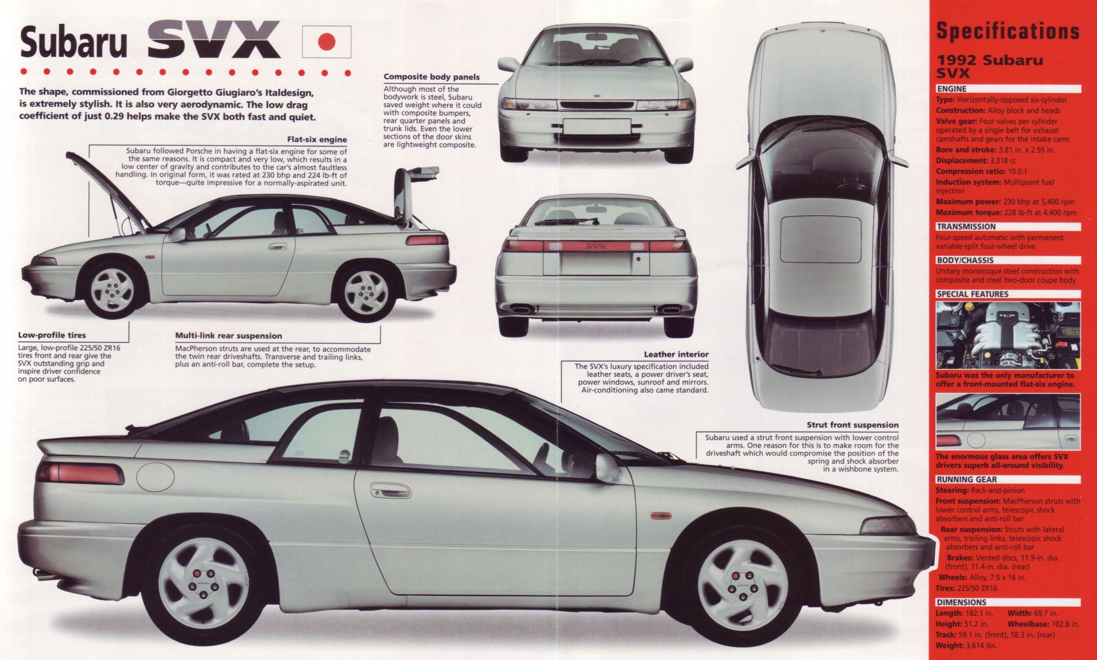 1992 Subaru SVX Old Print Automobile